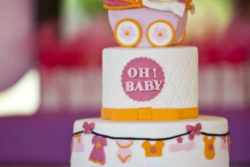Pink and Orange Baby Shower Cake