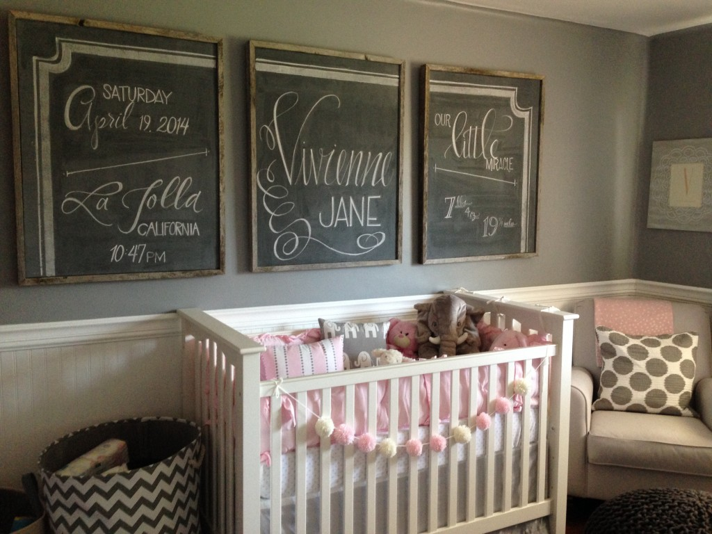 pink and gray nursery with chalkboard art project nursery
