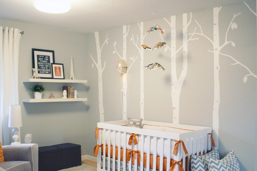 Superb Gray and Orange Woodland Nursery Project Nursery