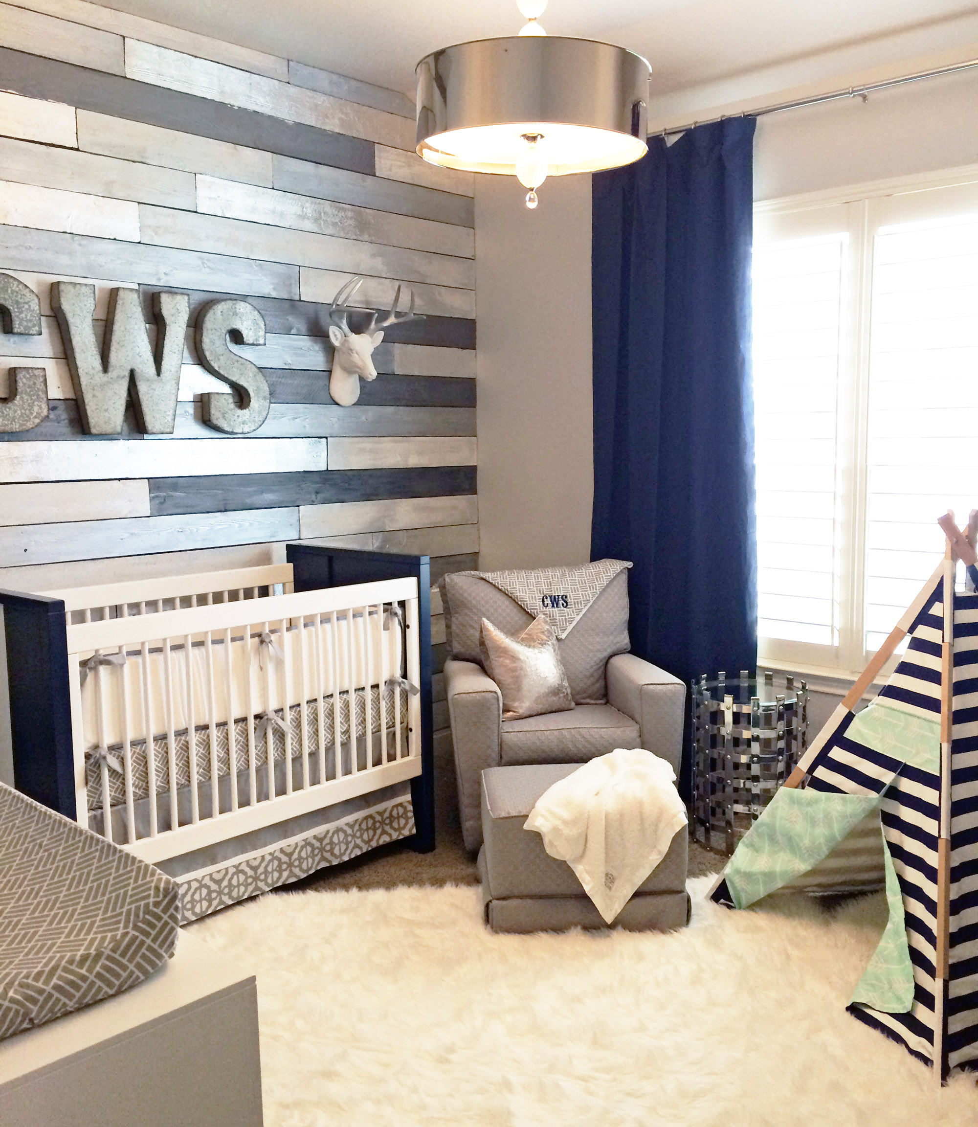 Design Reveal Metallic Wood Wall Nursery Project