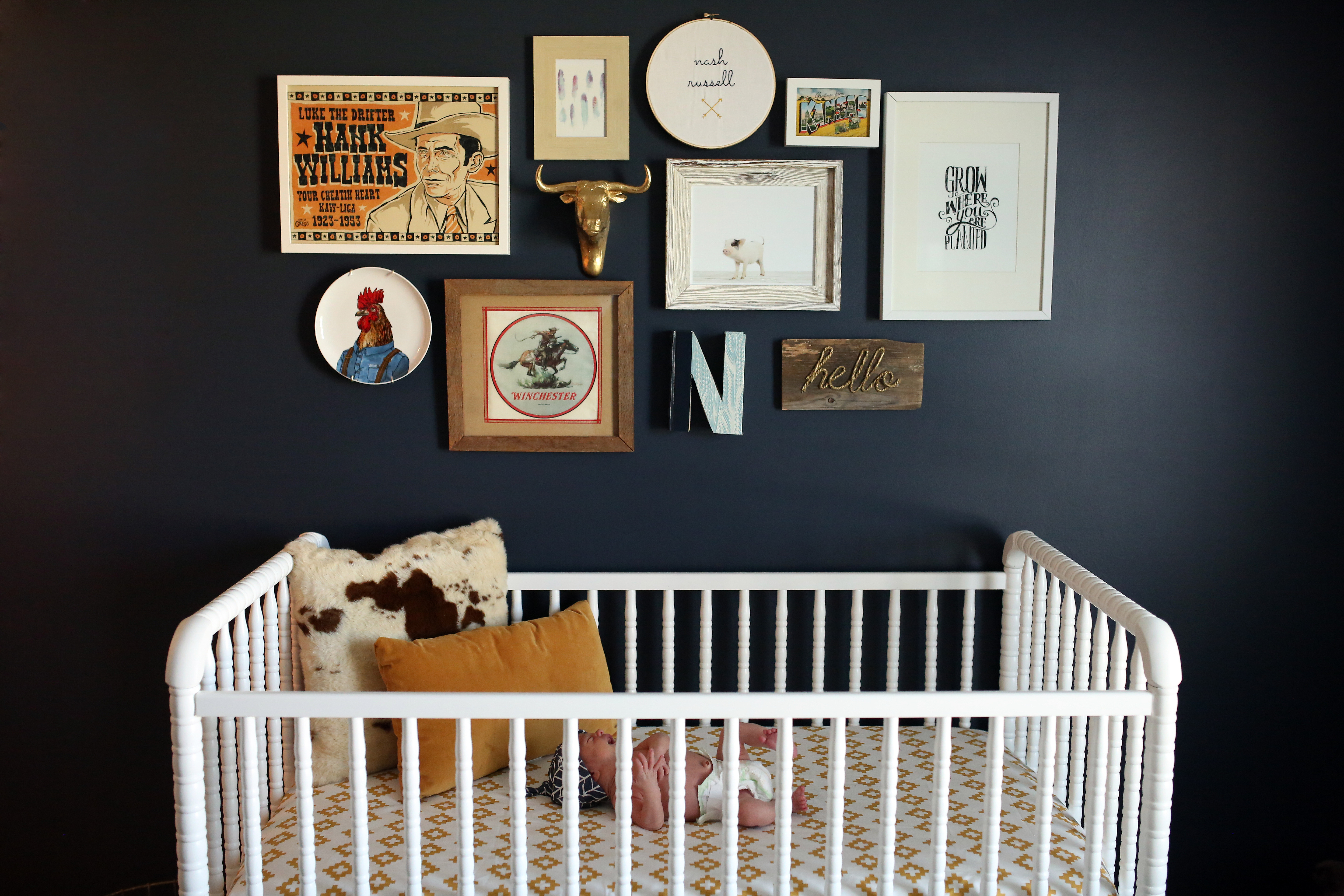Country Themed Gallery Wall in this Farm Nursery