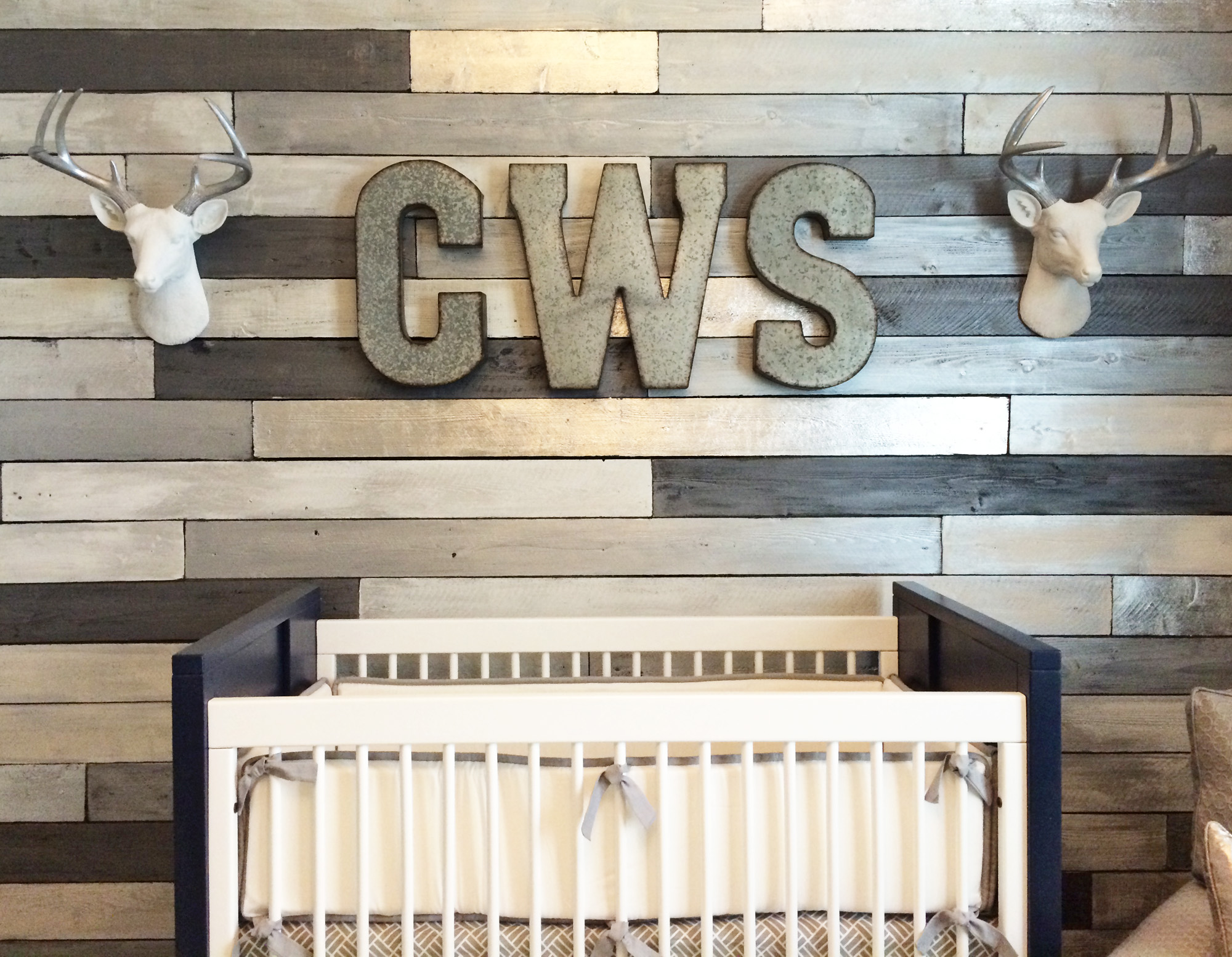 Metallic Wood Wall with Oversized Monogram