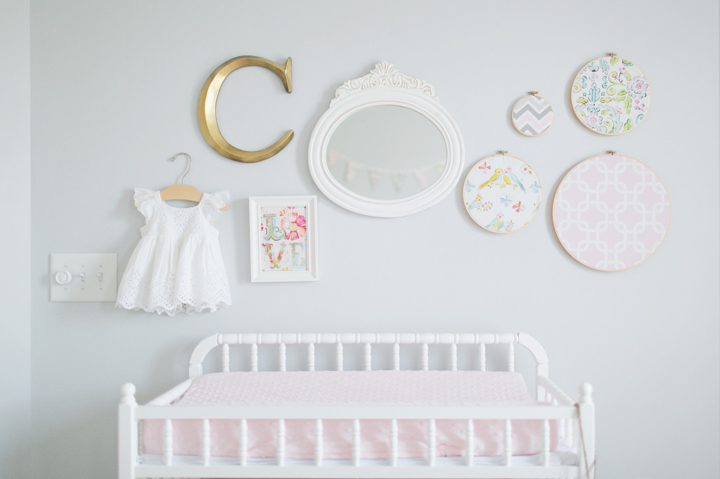 Nursery Gallery Wall with Embroidery Hoop Art - Project Nursery
