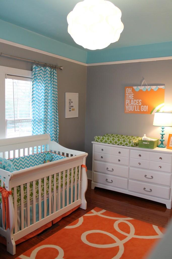 Gray Blue and Orange Nursery - Project Nursery