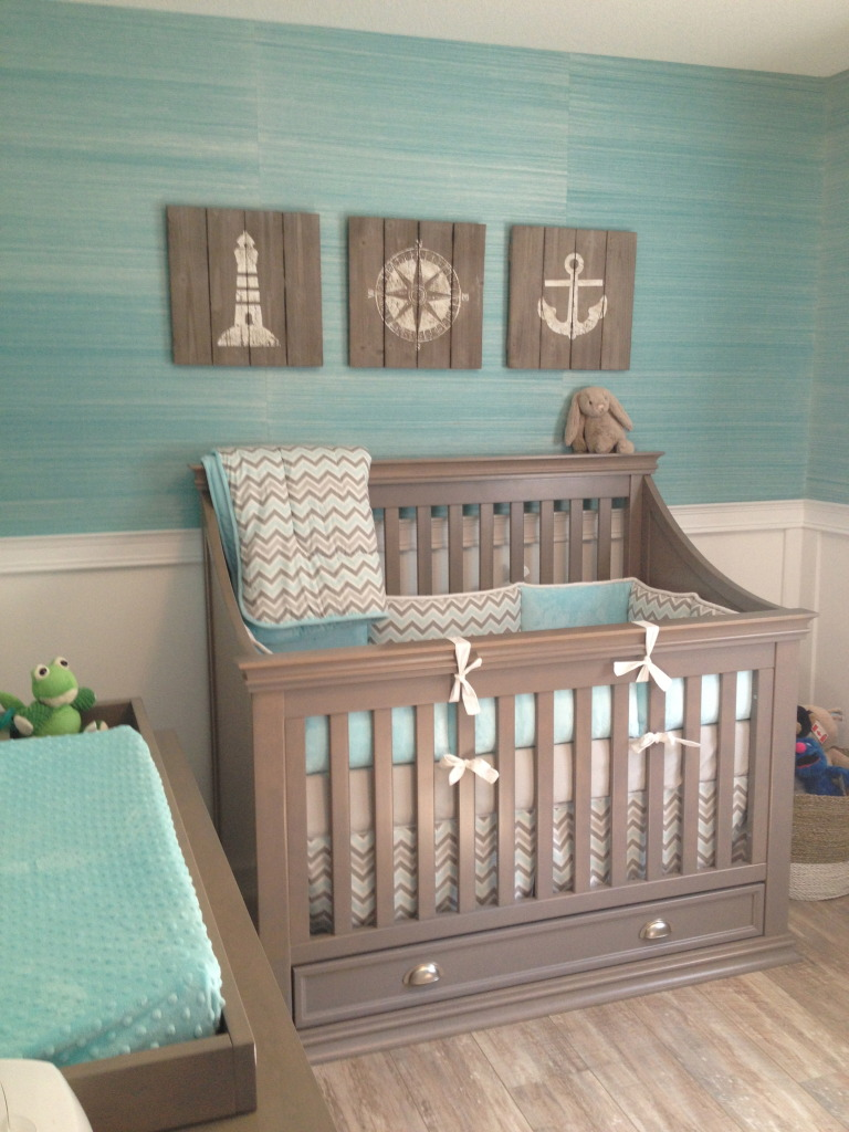 Gallery roundup nautical nurseries project nursery for Baby nursery mural