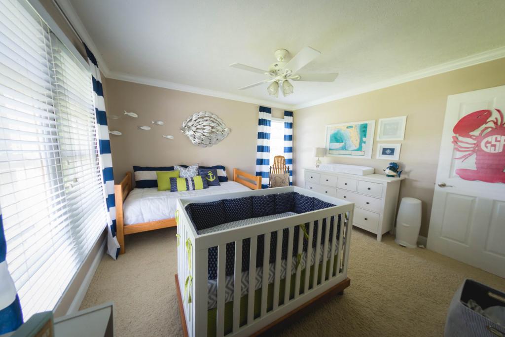 White Crib Boy Nursery Navy Blue