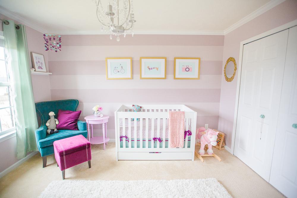 Purple and Teal Striped Nursery - Project Nursery