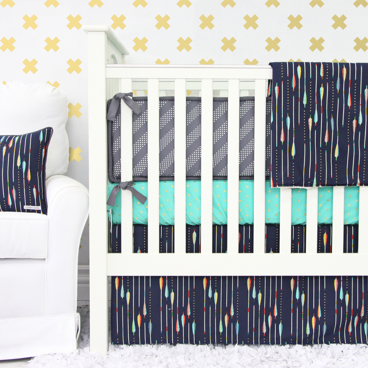 Navy Arrow Crib Bedding from Caden Lane