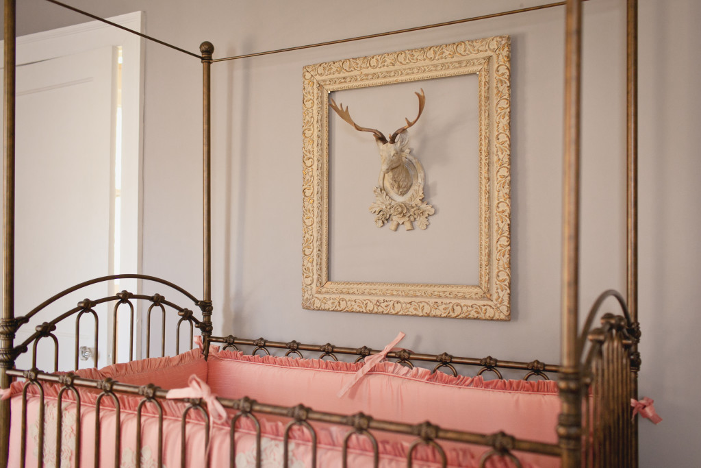 Faux Taxidermy Framed over Vintage Canopy Crib