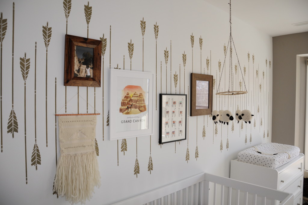 Hand Painted Wall Arrows in this Neutral Arrow Nursery