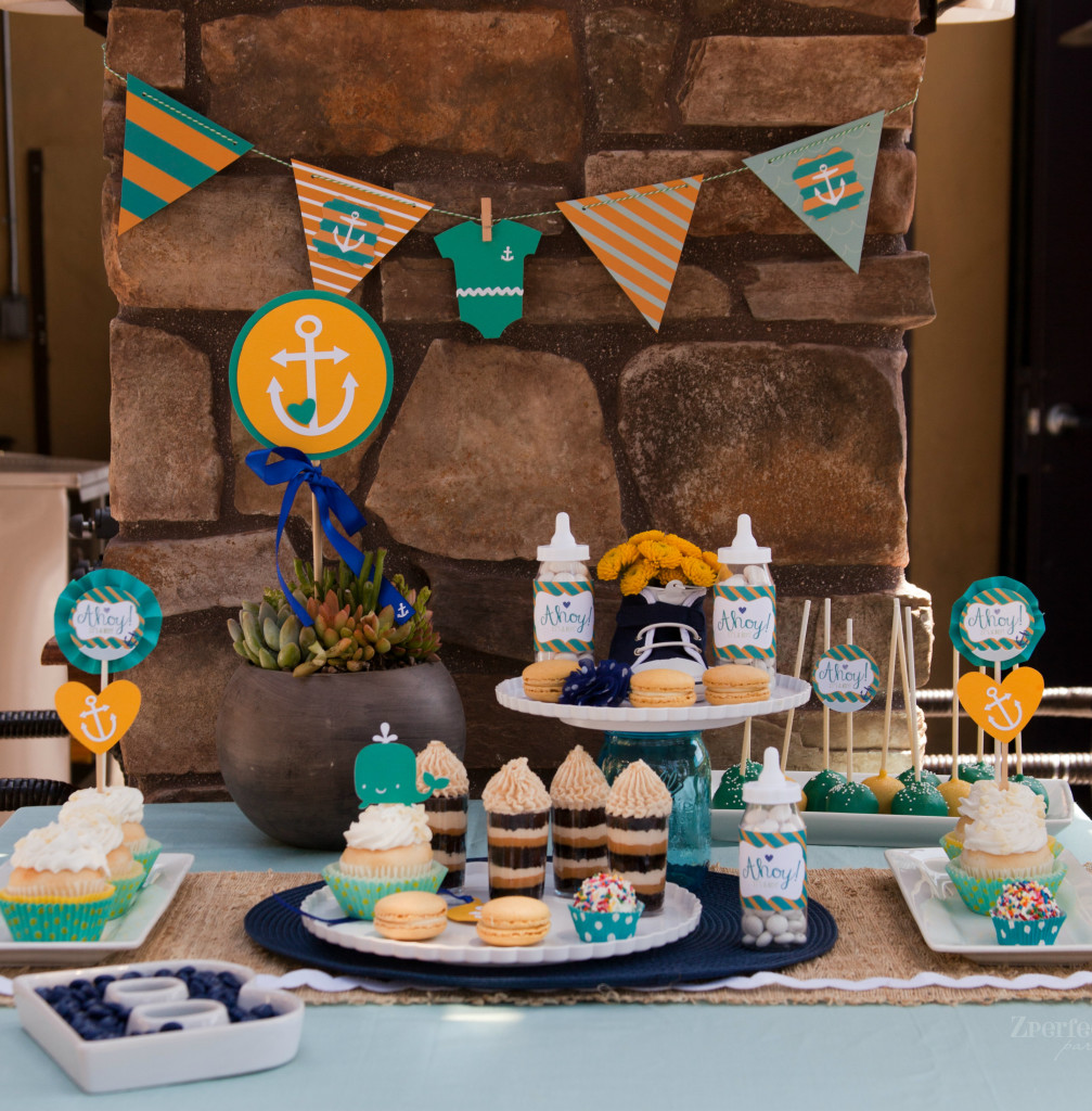 9/9; Nautical Baby Shower Dessert Table
