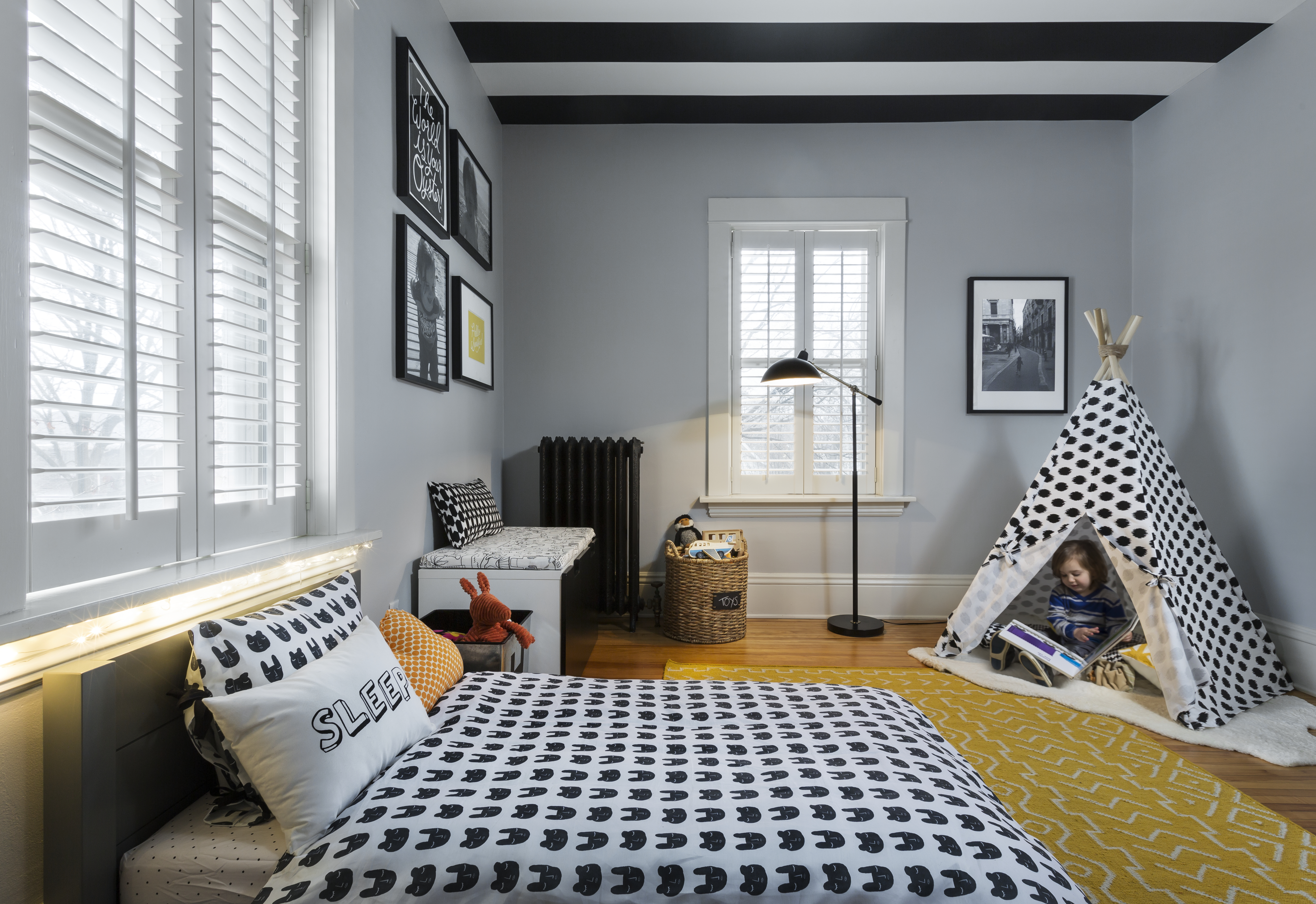 Modern Toddler Boy Room with Striped Ceiling