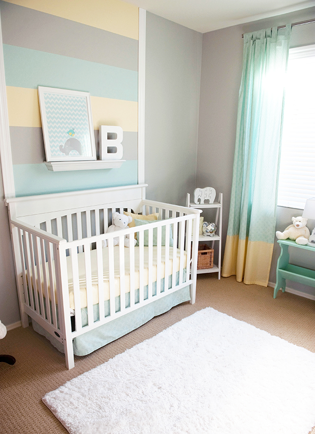 Aqua Gray And Yellow Boys Nursery