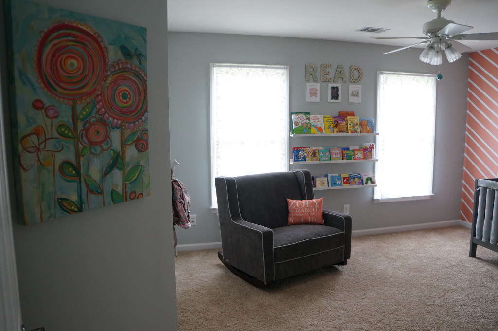 Coral and Gray Girl's Nursery