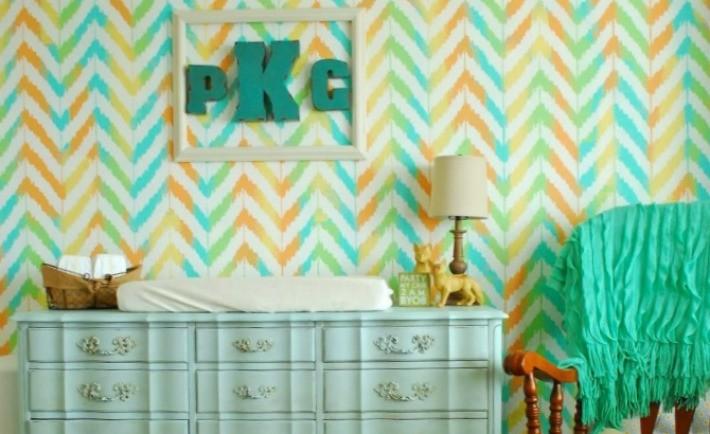 Pastel Ikat Zig Zag Nursery Stencil
