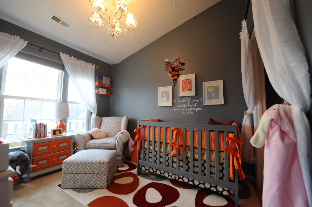 dark gray and orange nursery