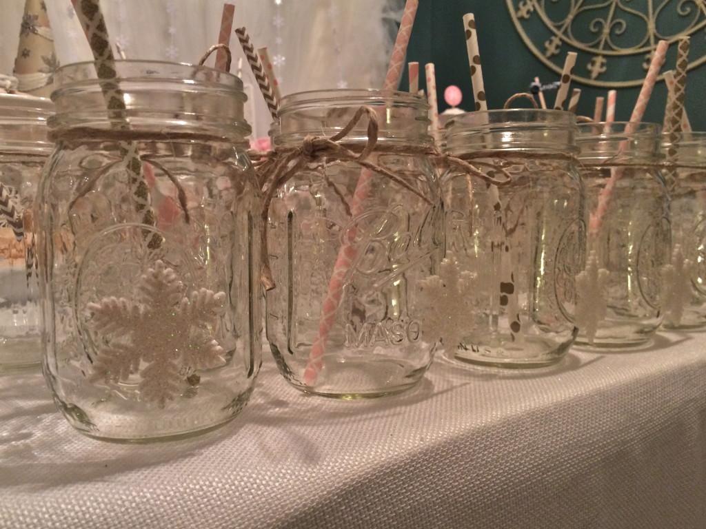 Winter ONEderland Themed Mason Jars