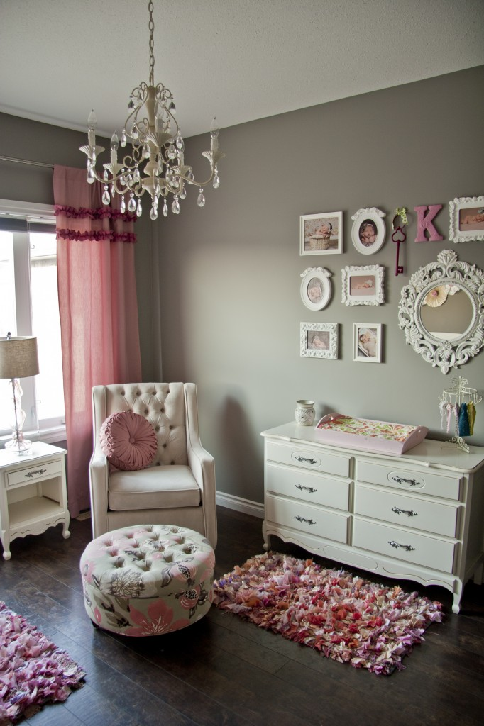 pink and gray nursery with frame wall