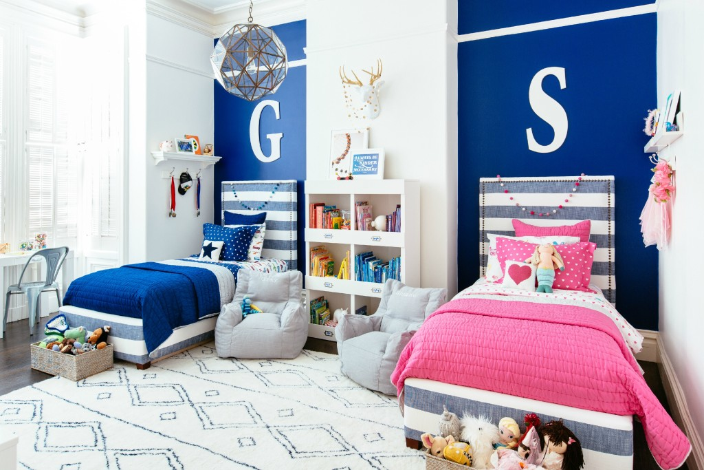 Navy Blue and Hot Pink Shared Boy and Girl Bedroom - Project Junior