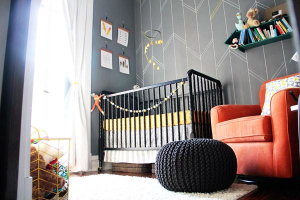 Gray Sharpie Paint Pen Arrow Nursery Wall