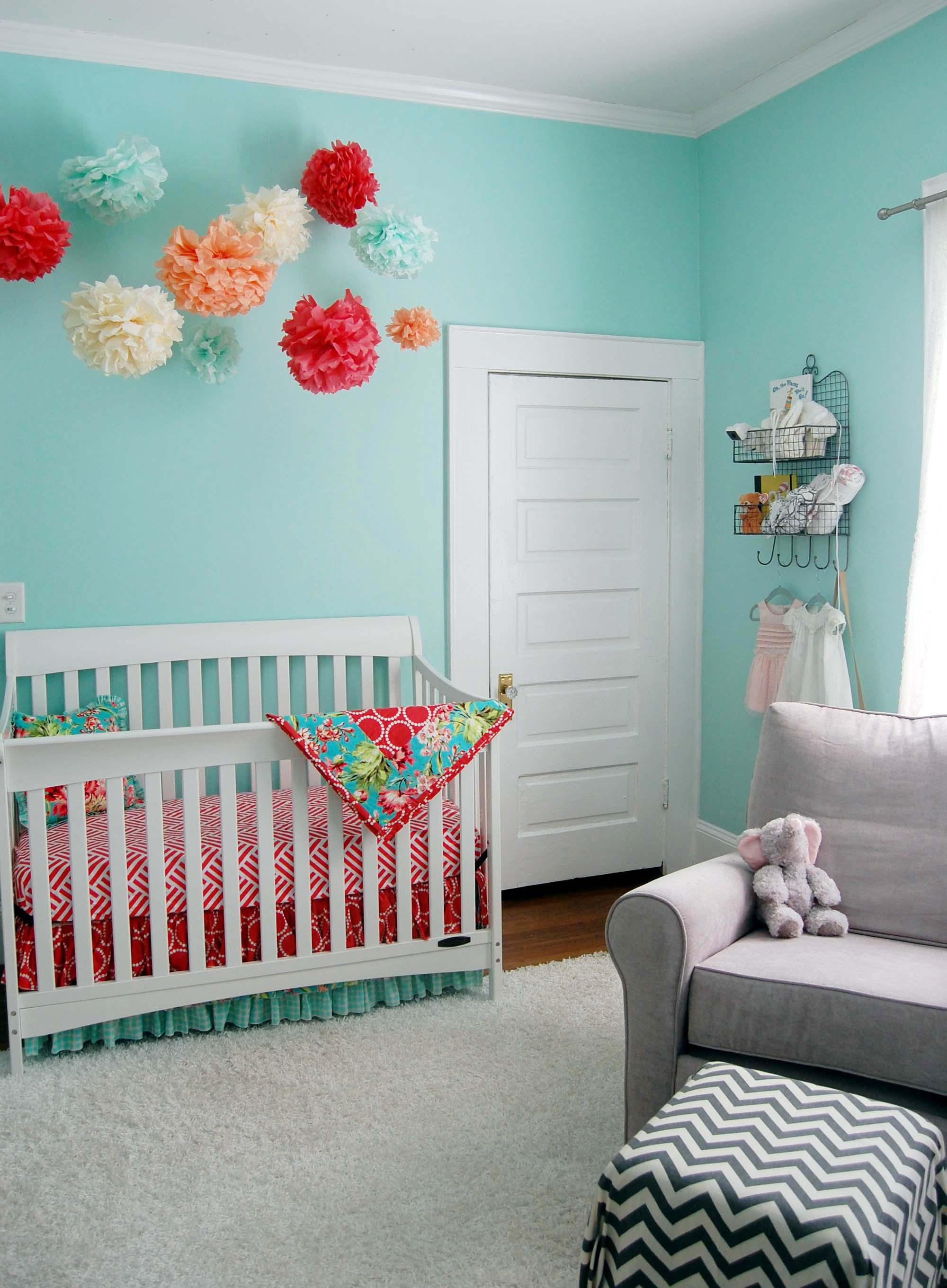 Coral and Aqua Crib Bedding from Studio Slumber