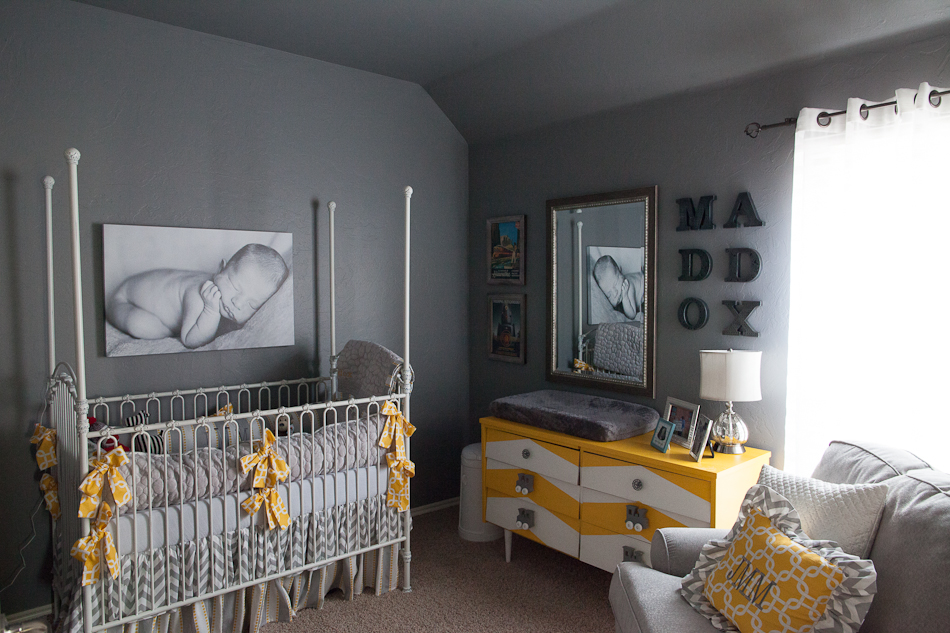 Gray and Yellow Chevron Nursery