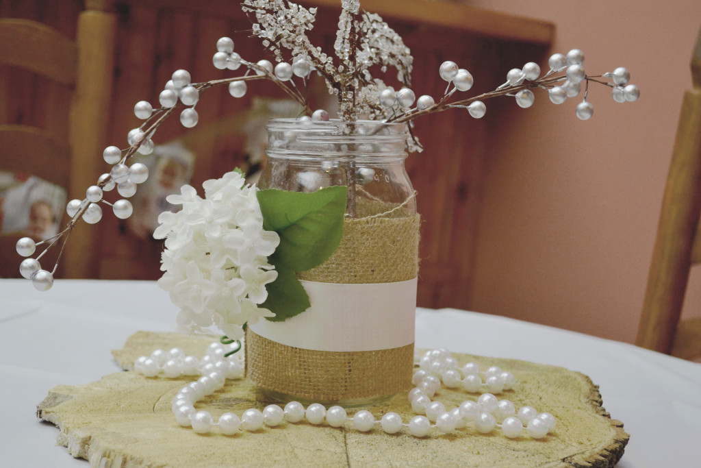 Rustic Winter Onederland Centerpiece with Pearls and Burlap