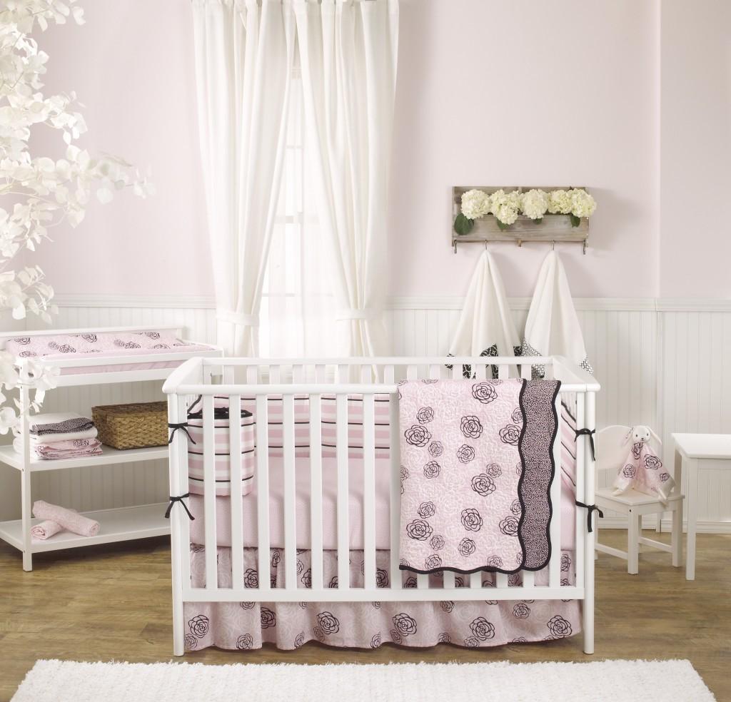 Balboa Baby Pink Camellia Crib Bedding
