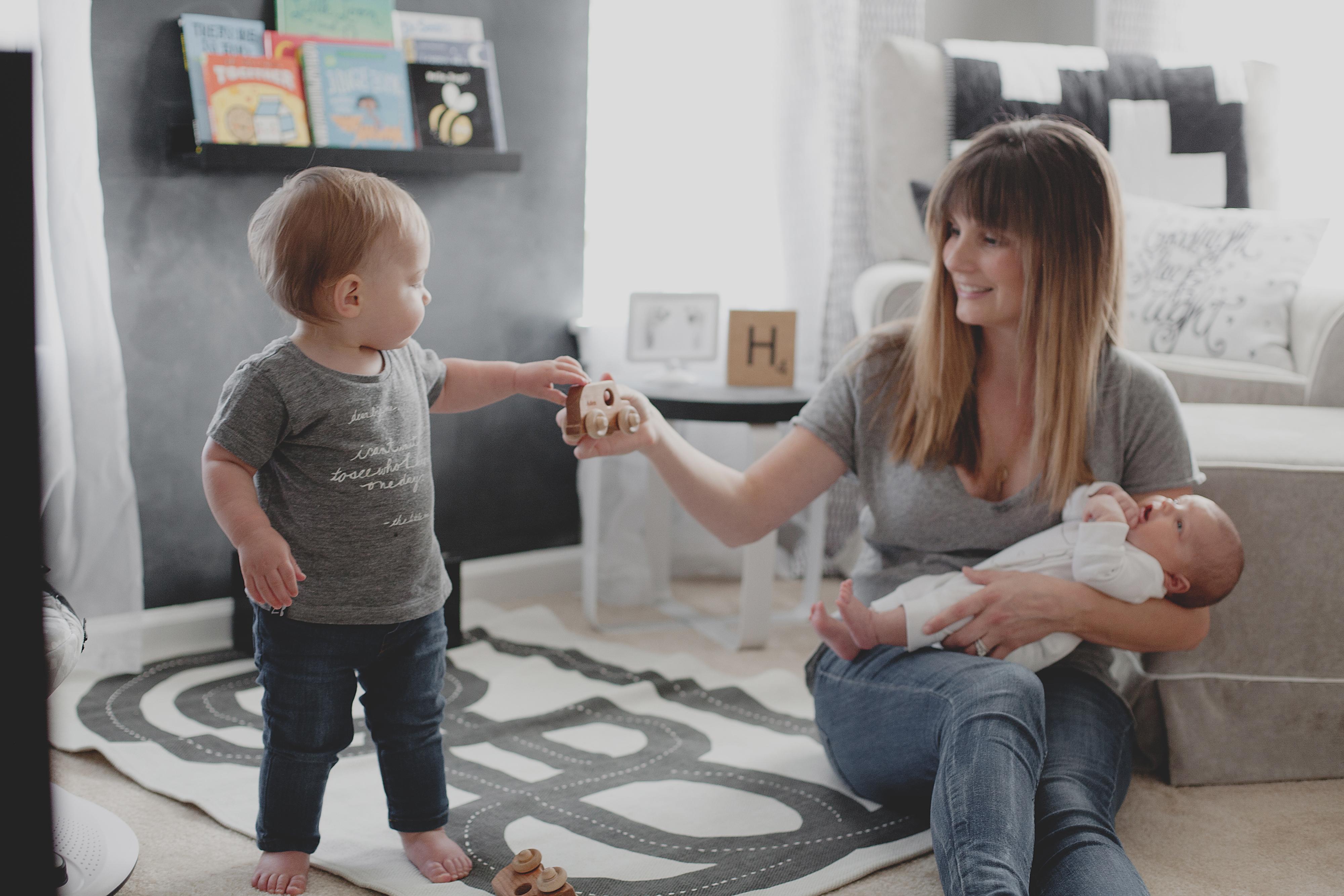 Adrianne Betz in Son's Black and White Nursery