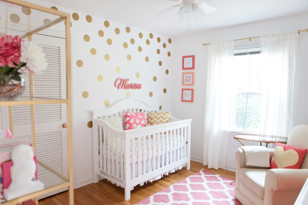Marion 39 s coral and gold polka dot nursery project nursery Baby room themes for girl