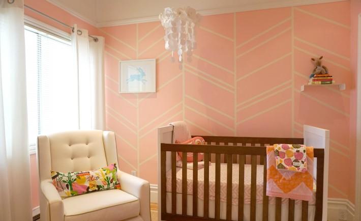 Pink Herringbone Nursery Accent Wall