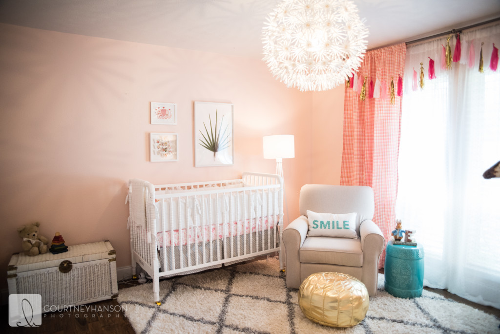 Coral, White and Gold Nursery