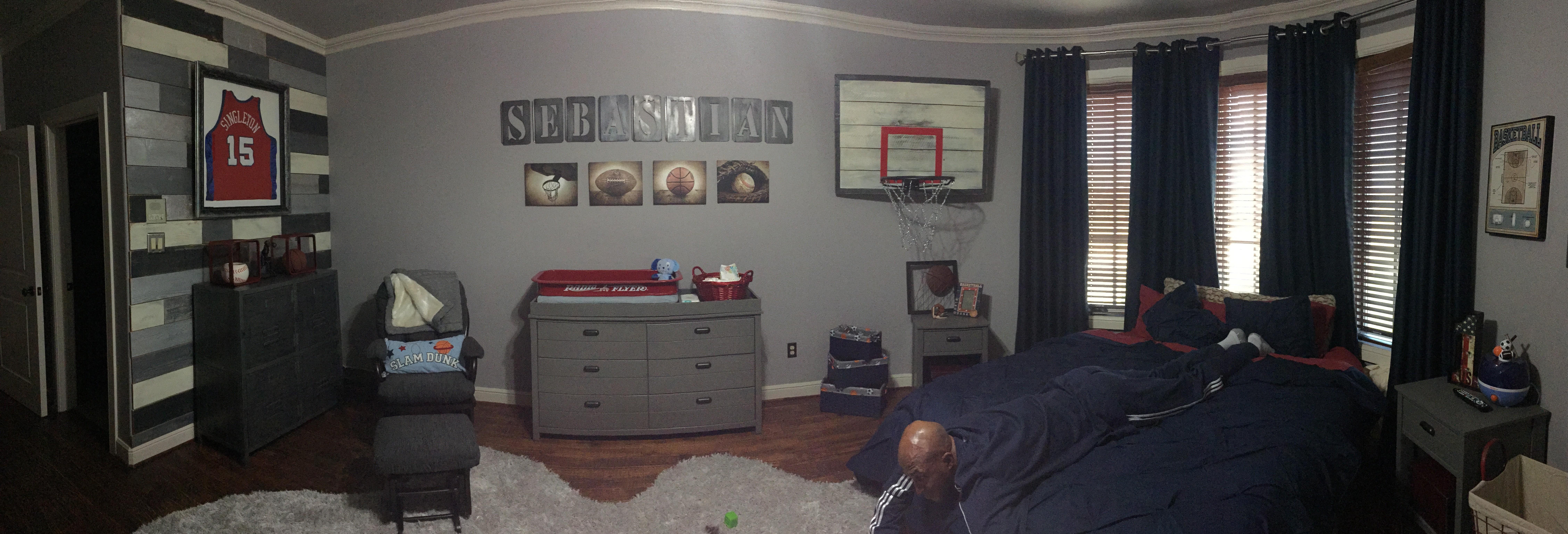 Vintage Basketball Hoop in this Basketball Nursery