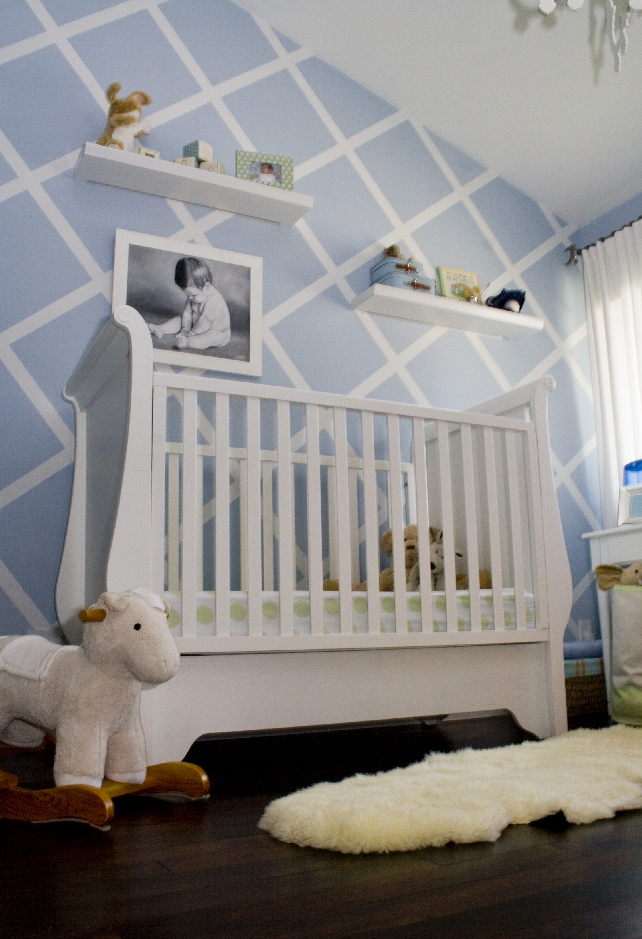 Baby Blue with Stenciled Accent Wall - Project Nursery
