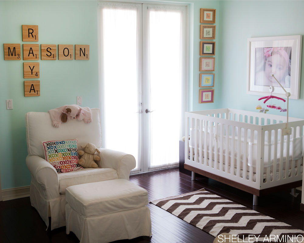 Aqua Boy Girl Twin Nursery with Scrabble Letters - Project Nursery