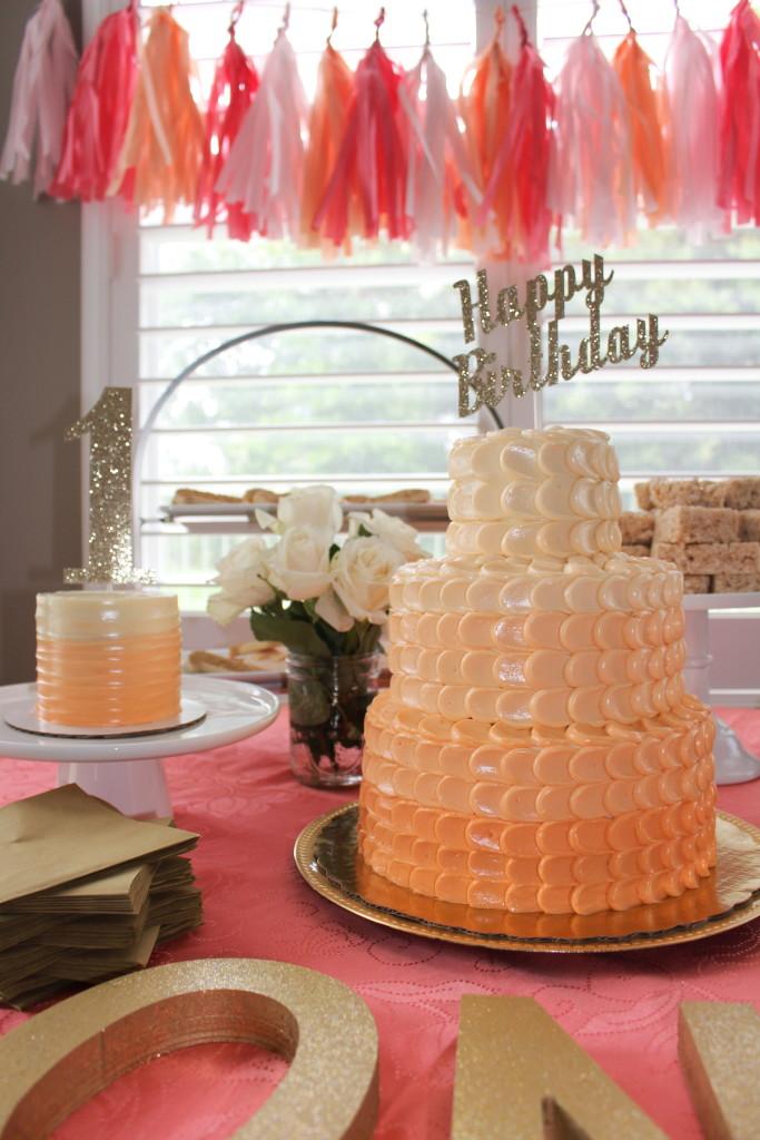 Peach Ombre Birthday Cake - Project Nursery