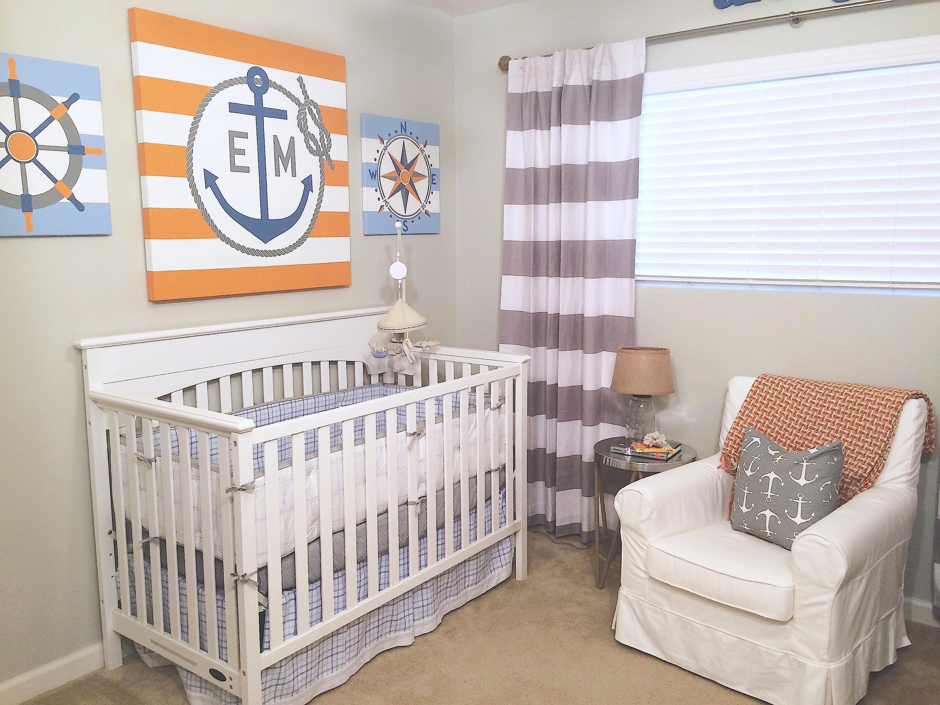Orange and Gray Nautical Nursery