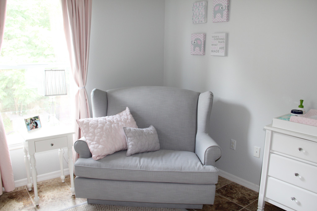 Pink And White Elephant Theme Nursery