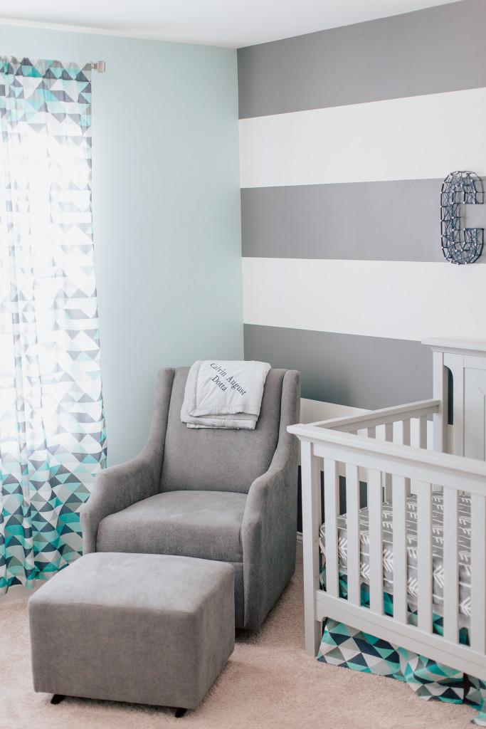 Calvin 39 s modern blue and gray nursery project nursery for Modern grey nursery