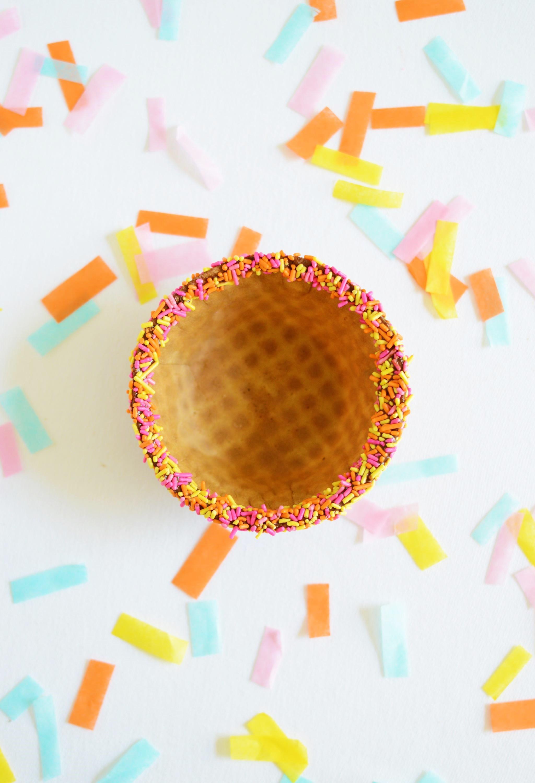 DIY Chocolate Dipped Waffle Bowls