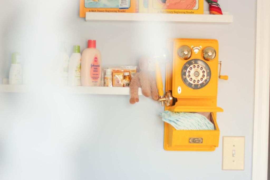 Vintage Yellow Phone in this Native American Nursery