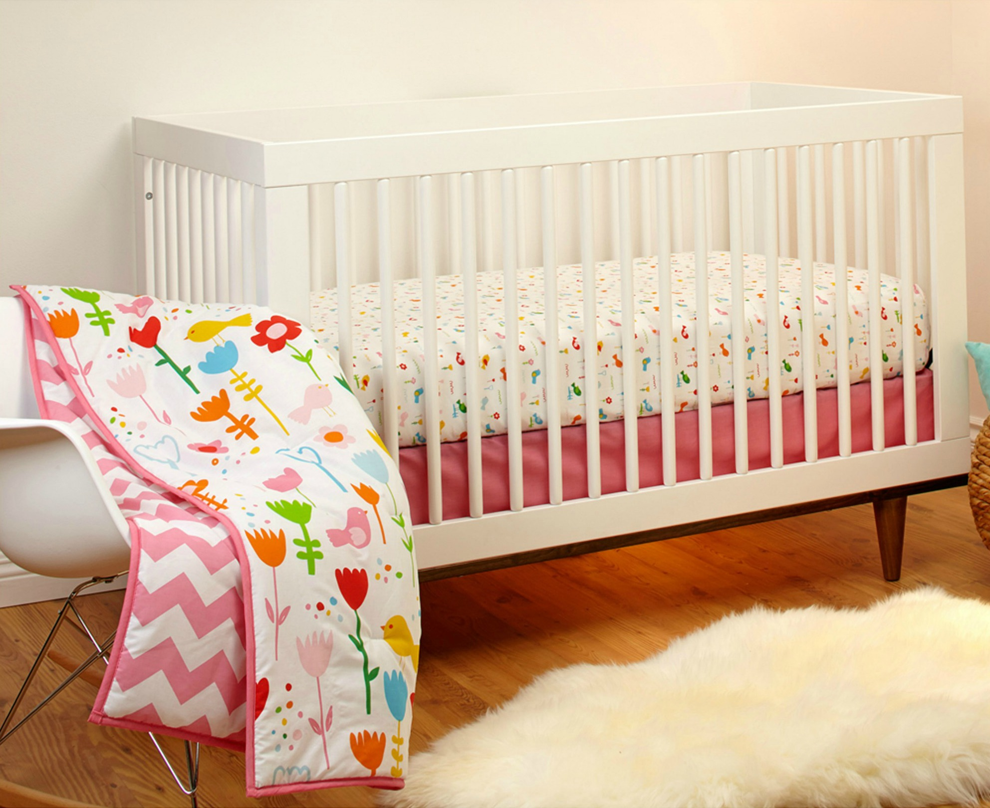 Popular Pinwheel Sweet Tweet Piece Crib Bedding Set