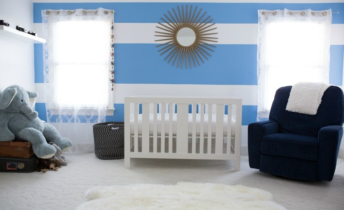 Blue and White Travel-Inspired Nursery