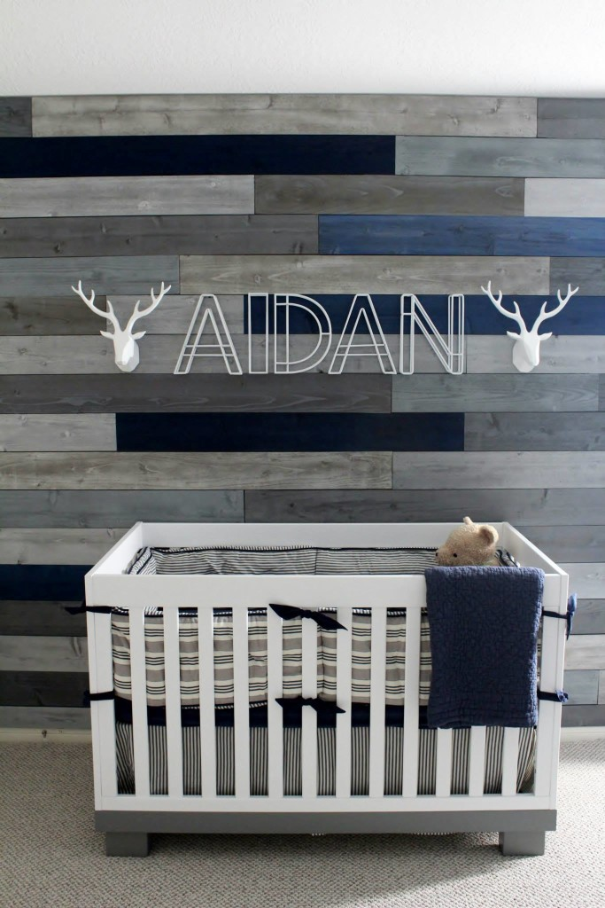 Gray and Blue Pallet Wall in this Modern Navy & Grey Rustic Nursery