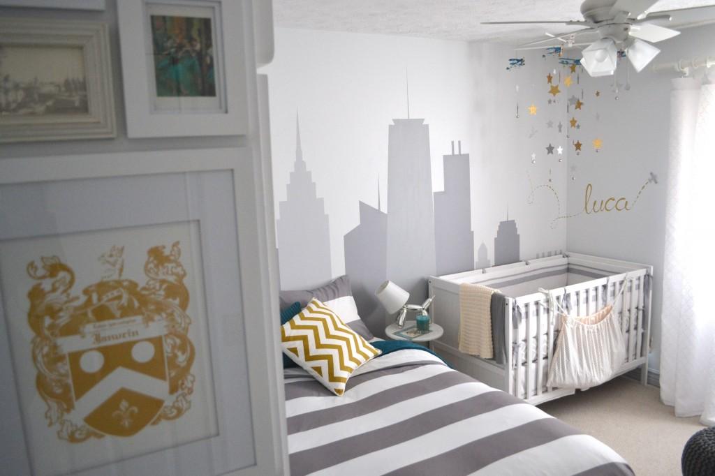 Nursery with City Skyline Mural - Project Nursery