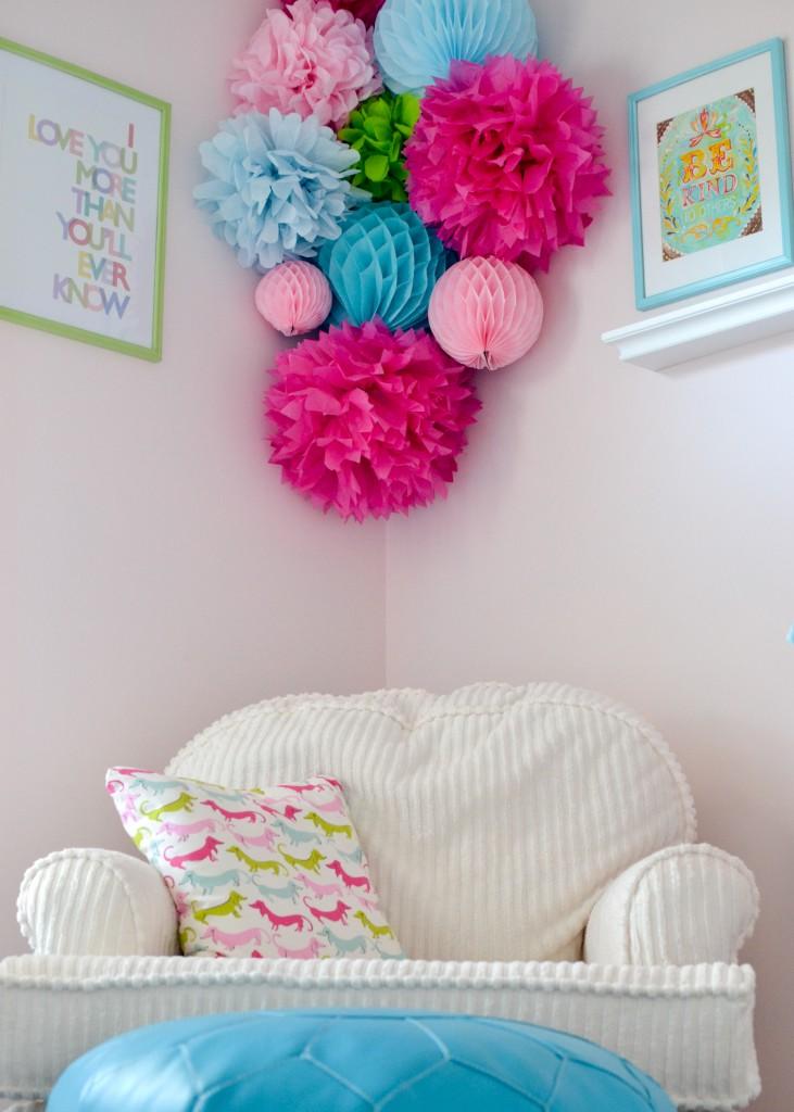 Bold Tissue Poms in Girl's Nursery - Project Nursery