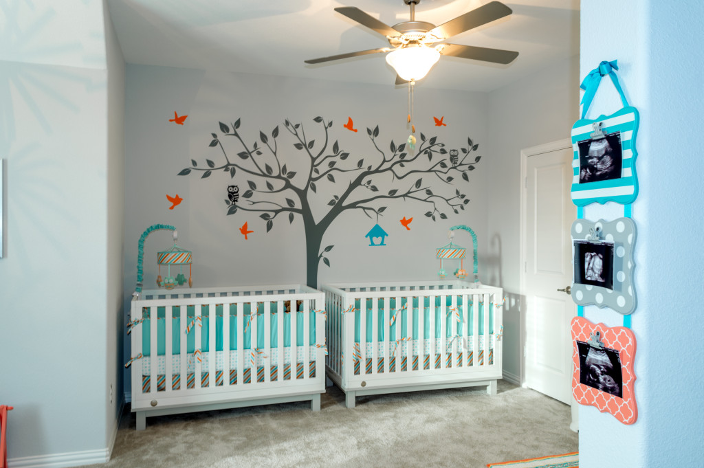 Grey, Aqua and Orange Neutral Twin Nursery