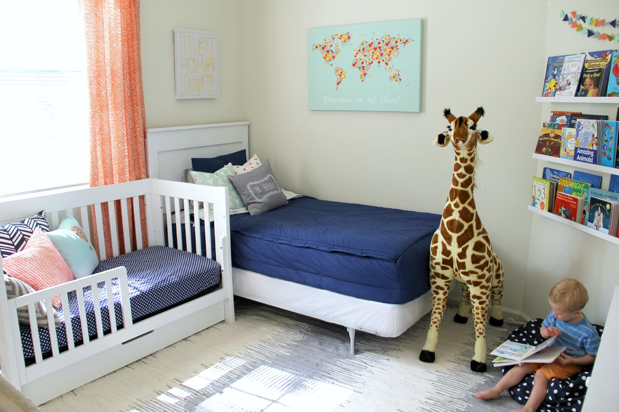 Navy Blue and Orange Shared Boys Room