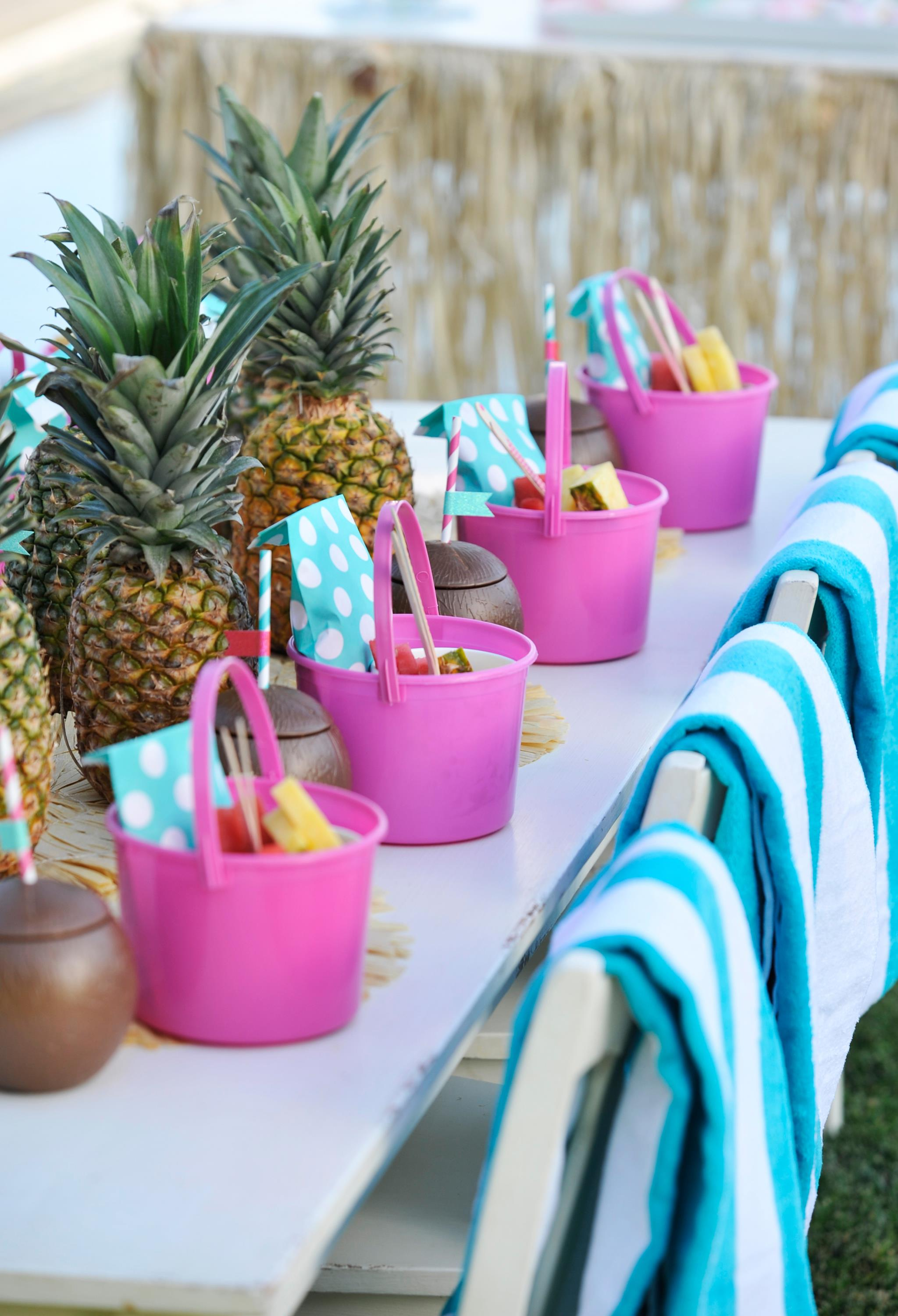 Pool Party Table with Pineapple Centerpieces