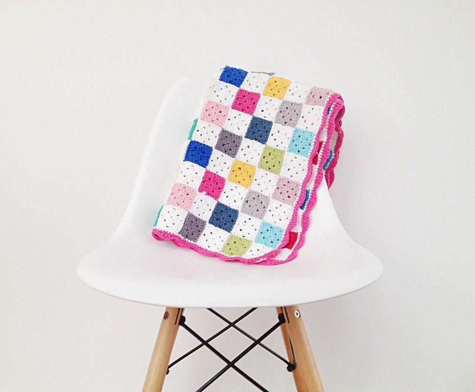 Crochet Granny Square Blanket Pattern from Etsy
